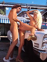 Blonde slut fucking some dick on an old car