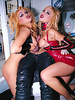 Two wild blondes in leather share a big dick